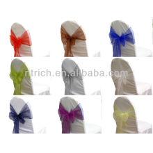 boda silla tie backs, vogue cristal organza silla marco lazo detrás, corbata de lazo, nudo, boda silla cubierta y tabla de paño