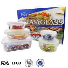 Контейнер боросиликатного стекла продуктовый набор с крышкой, прямоугольный микроволновая печь безопасный стеклянный контейнер для еды