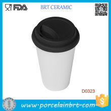 Customized Logo Double Wall Ceramic Trave Mug with Silicone Lid
