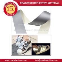 Preço barato prata reflexivo couro para sapatos