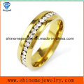 Anel de aço inoxidável de diamante de diamante e anel de joalheria feminina (CZR2572)
