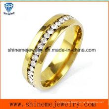 Acero inoxidable de oro diamante-studded hombres y anillo de la joyería de las mujeres (czr2572)