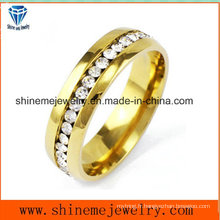 Bague en bijoux pour homme et femme à diamants en or inoxydable en acier inoxydable (CZR2572)