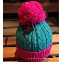 Senhora malha Crochet Beanie Hat / Cap com Pompom / bolas (K-35)