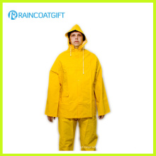 2PCS Yellow PVC Polyester Rain Suit Rpp-039