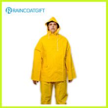 2PCS amarelo PVC poliéster Rainsuit