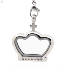 Fancy silver crown Glass stainless steel floating charms locket pendant jewelry