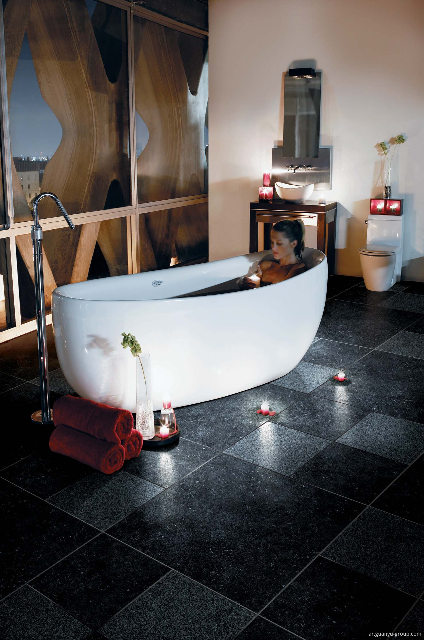 Luxury Black Max Stone Rustic Porcelain Floor Tile