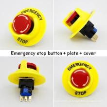 Conjuntos de Interruptores de Botão de Parada de Emergência de 16mm Pequenos (botão + placa + tampa)