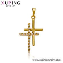 33543 xuping jewelry 24k gold plated gemstone fashion cross pendant