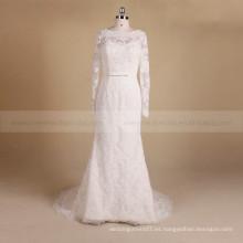 Romántica manga larga escote cuello sirena delicada cuentas y vestido de novia de encaje