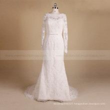 Romantic Long Sleeve Scoop Neck Mermaid Delicate Beads & Lace Wedding Dress