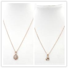 Rose Gold Heart Stones Pendentif Pendentif en acier inoxydable Collier