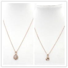 Rose Gold Heart Stones Pendant Stainless Steel Jewelry Necklace
