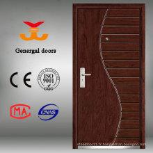 Porte extérieure en bois d'entrée principale en bois d'acier ISO9001