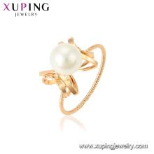 15458 xuping 18k mode plaqué or funky imitation élégante bague de perle pour les dames