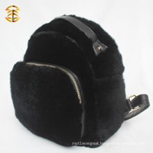 2016 Popular Wholesale Luxury Rabbit Fur Leather Black Fur Backpack