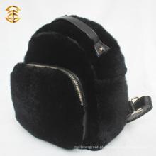 2016 Popular atacado luxo coelho pele em couro mochila de pele preta