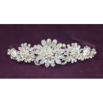Neueste elegante Blumenhochzeit Tiara Brautrhinestone wulstige Krone