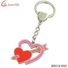Wholesale Enamel Metal Double Heart Keyring (LM1317)