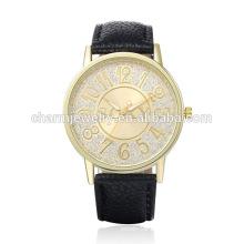Qualitäts-Art- und Weisequarz-Leder-Förderung-Armbanduhr SOXY002