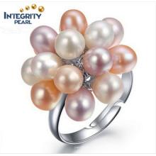 Mode Traube 3-4mm AAA Drop Einstellbare Süßwasser Perle Ring