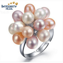 Fashion Grape 3-4mm AAA Drop Adjustable Freshwater Pearl Ring