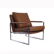 Modern Zara Stainless Steel Leather Chaise Lounge Chairs