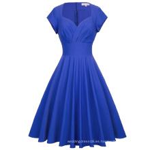 Belle Poque Retro Cap manga V-cuello alto vestido elástico azul vintage BP000356-2