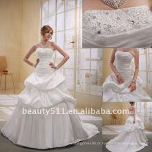 Astergarden elegante tafetá sem alças de uma linha Beaded vestido de noiva de casamentoAS013