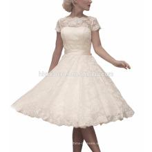 Vestido de boda de la falda del soplo de manga larga de alta cintura del alto-cuello 2017 del cordón lleno pequeño