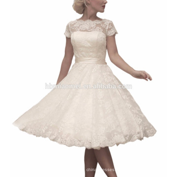 2017 pleine dentelle petite haute-col haut taille haute robe de mariée jupe Puff