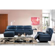Sofá de sala de estar com conjunto moderno de sofá de couro genuíno (454)
