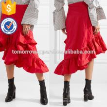 Venda quente Estilo Solto assimétrica Ruffled Midi Vermelho Saia de Verão Fabricação Atacado Moda Feminina Vestuário (TA0012S)