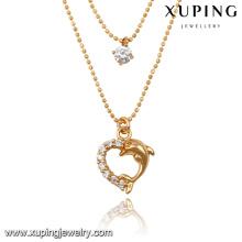 43053-Xuping duas camadas do colar da forma do coração que brilha a jóia frisada para mulheres