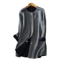 Abrigo de cachemira de visón grueso de mujer abrigo de color sólido O cuello cubierto / botones ocultos bolsillos dobles