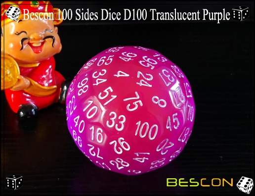 Bescon 100 Sides Dice D100 Translucent Purple-3