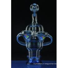 Tuyau d'eau fumante en verre de recyclage de baril de pétrole de Stardust bleu (ES-GB-561)