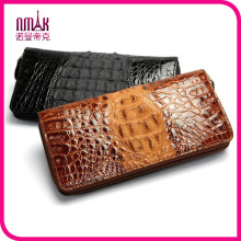 100% Genuine Crocodile Head Leather Bifold Wallet Purse Organizer Shiny Dark Brown