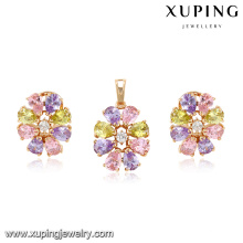 64007 xuping colorful dubai cheap bridal 18k gold plated zircon pendant and earrings jewelry set