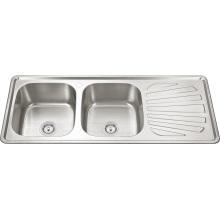12050 Нержавеющая сталь двойной чаша с плиты Кухонная раковина