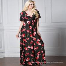 Moda impresso floral Premium qualidade poliéster longo sem mangas Casual mulher vestido maxi