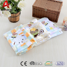 2018 High quality cheap Animal Embroidered Pattern newborn Baby Blanket