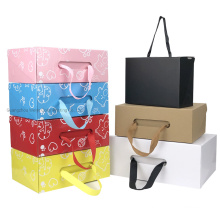 Custom Printing Flat Pack Clothing Shoe Box Paper Cardboard Box with Ribbon Handle