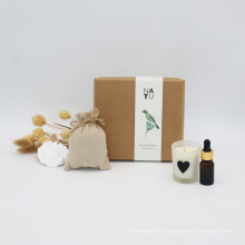 scented candle hanging ceramic flower 10ml essential oil and sachet gift set with kraft box