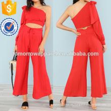 Una parte superior del hombro con arco y pantalones anchos a juego de la fabricación Fabricación al por mayor de las mujeres de la manera de la ropa (TA4107SS)
