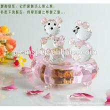 Pink Crystal Teddy Bear Music Box For Wedding Favor