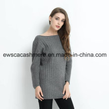 Women Long Cashmere Pullover with Solid Color