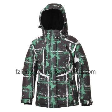Kid′s imprimé à capuchon hiver rembourré, veste de ski