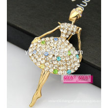 top sale lovely beautiful dancer girls alloy crystal brooch